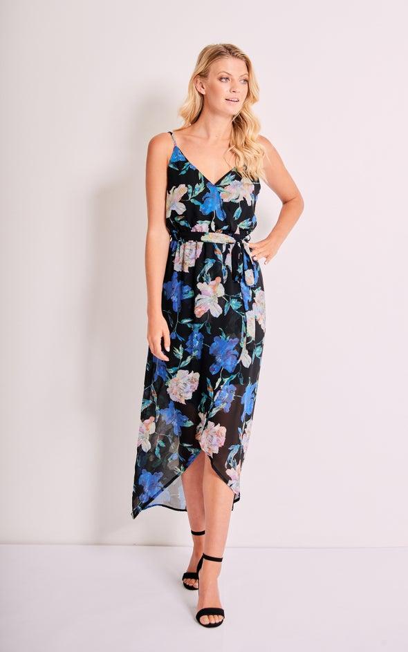 Chiffon Floral Wrap Maxi Dress Black/floral