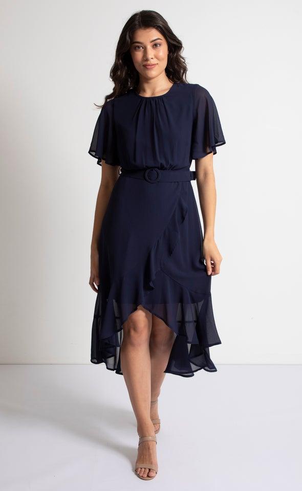 Chiffon Flutter Belt Detail Dress