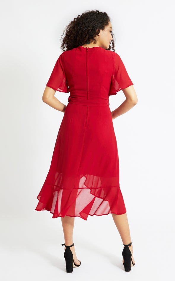 Chiffon Flutter Belt Detail Dress Red Wine