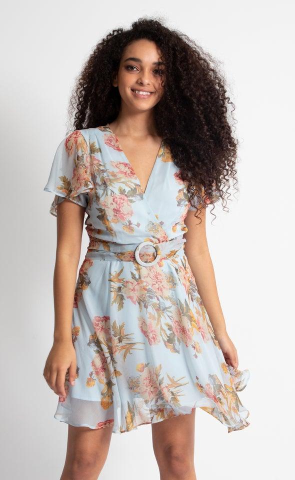 Chiffon Flutter Buckle Detail Dress Blue/floral