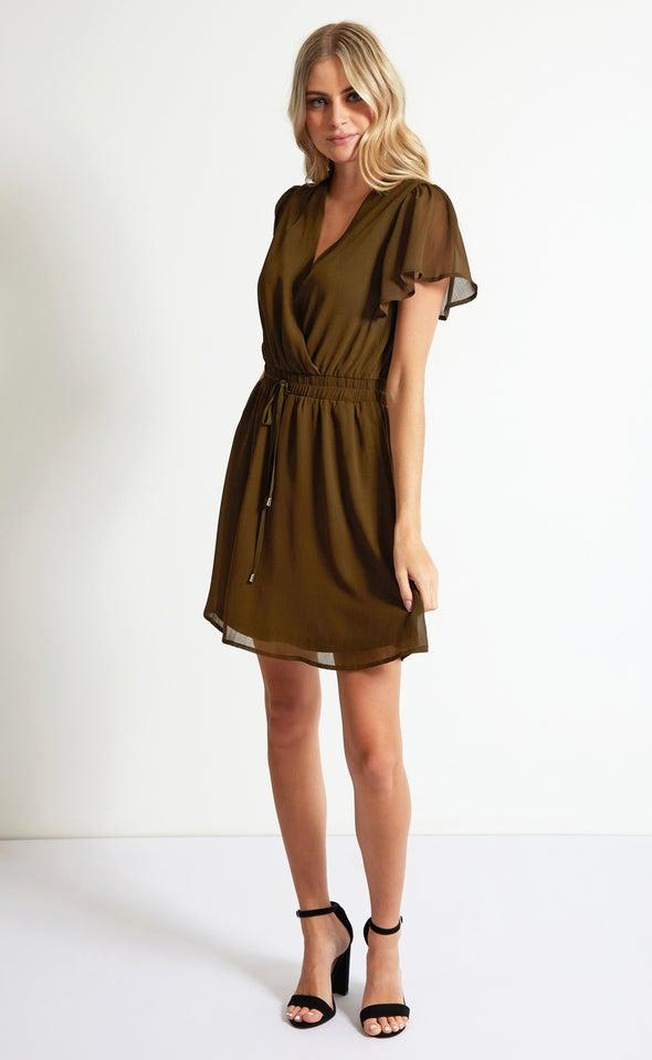 Chiffon Flutter Drawstring Detail Dress