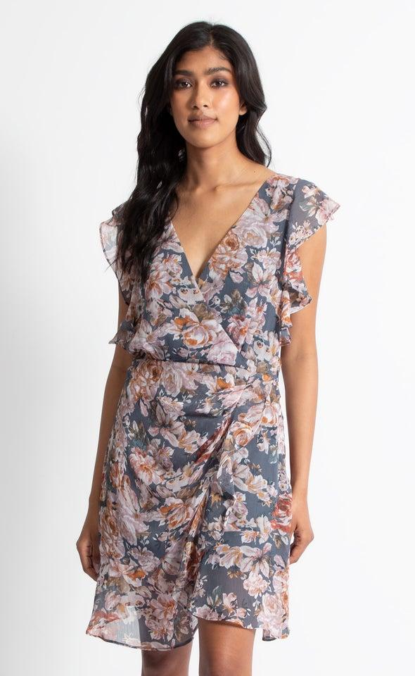Chiffon Flutter Frill Wrap Dress Slate/floral
