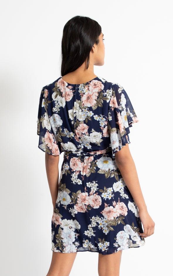 Chiffon Flutter Sleeve Skater Dress Navy/floral