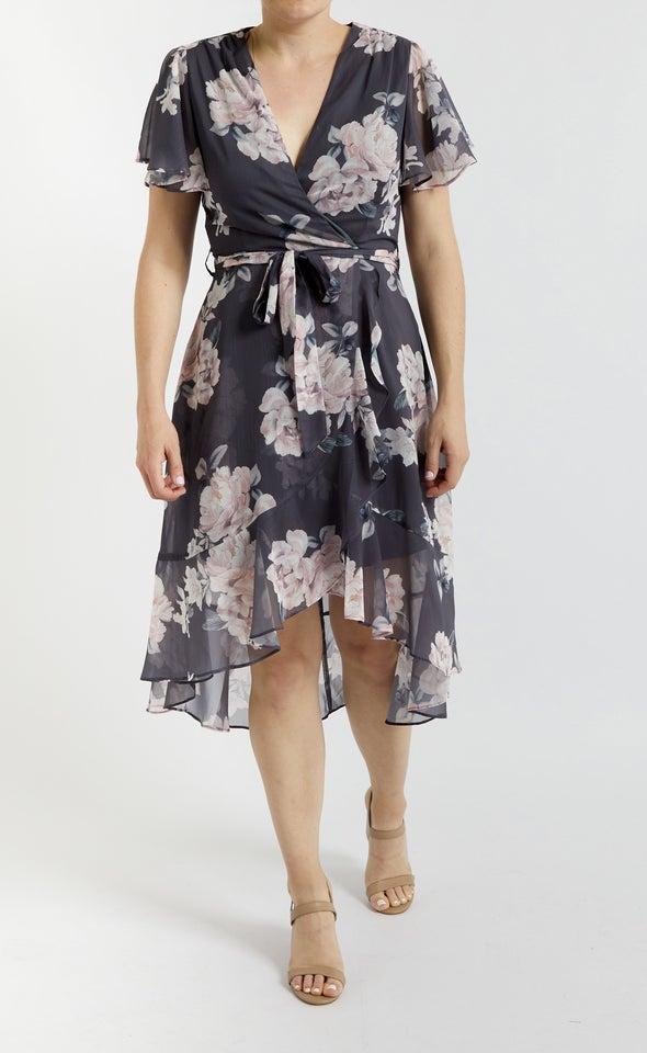 Chiffon Flutter Wrap Midi Dress