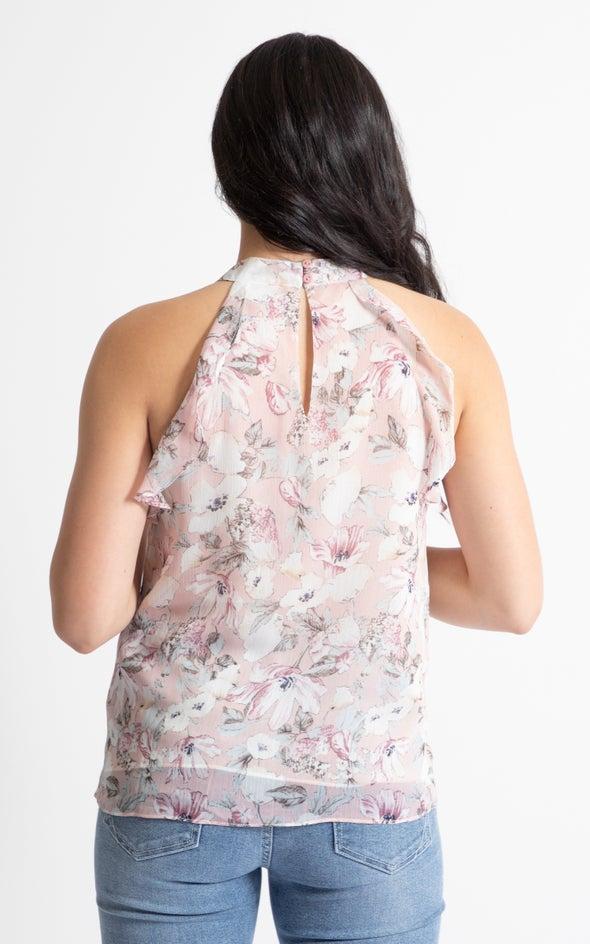 Chiffon Frill Cutaway Top Blush/floral