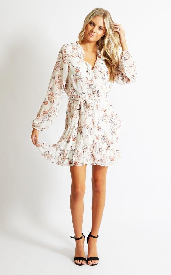 Chiffon Frilly LS Wrap Dress Cream/floral