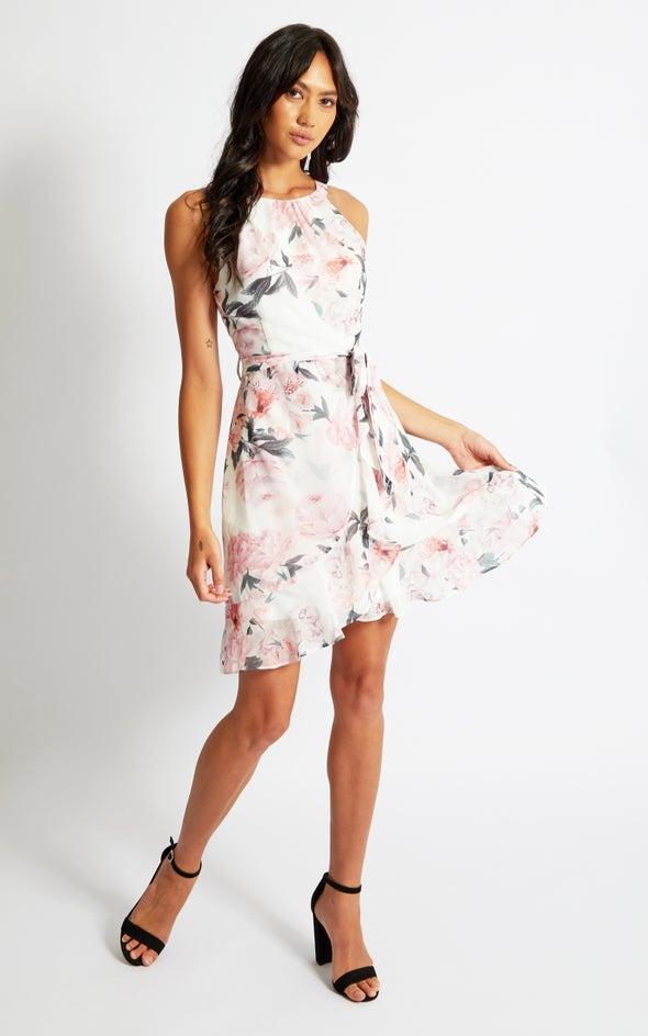 Chiffon Halter Ruffle Wrap Dress Cream/floral