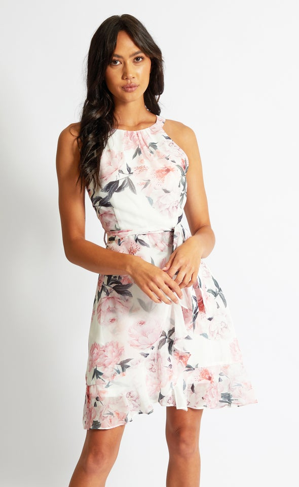Chiffon Halter Ruffle Wrap Dress