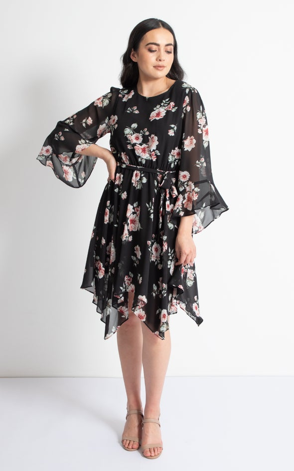Chiffon Handkerchief Hem Dress Black/pink