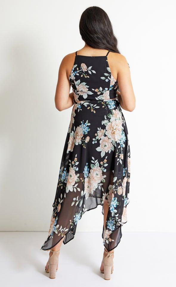 Chiffon Handkerchief Hem Maxi Black/floral