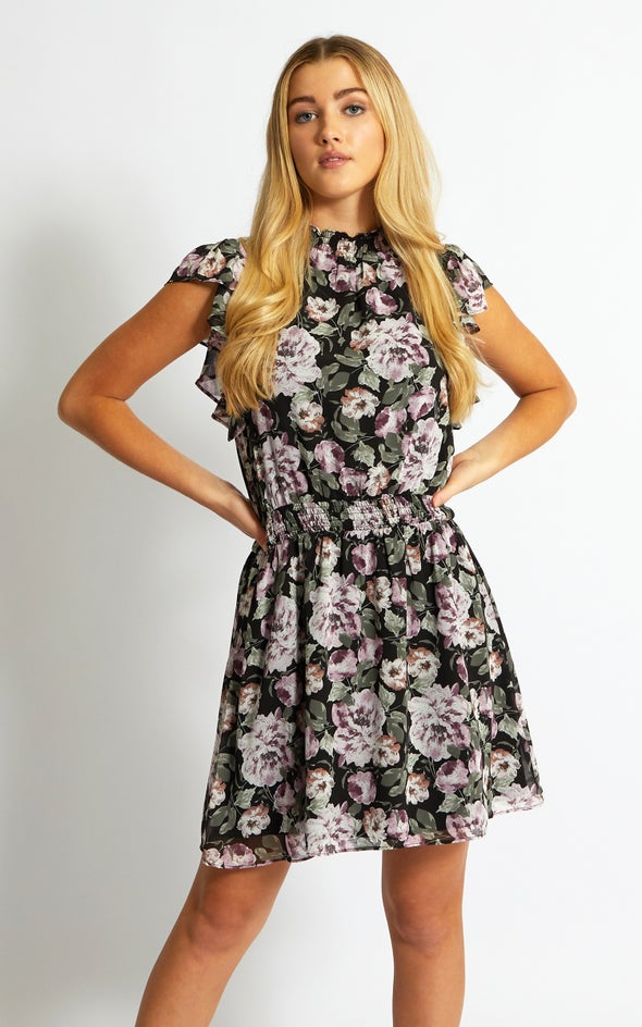 Chiffon High Neck Flutter Dress Black/floral
