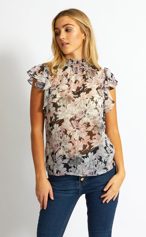 Chiffon High Neck Flutter Top