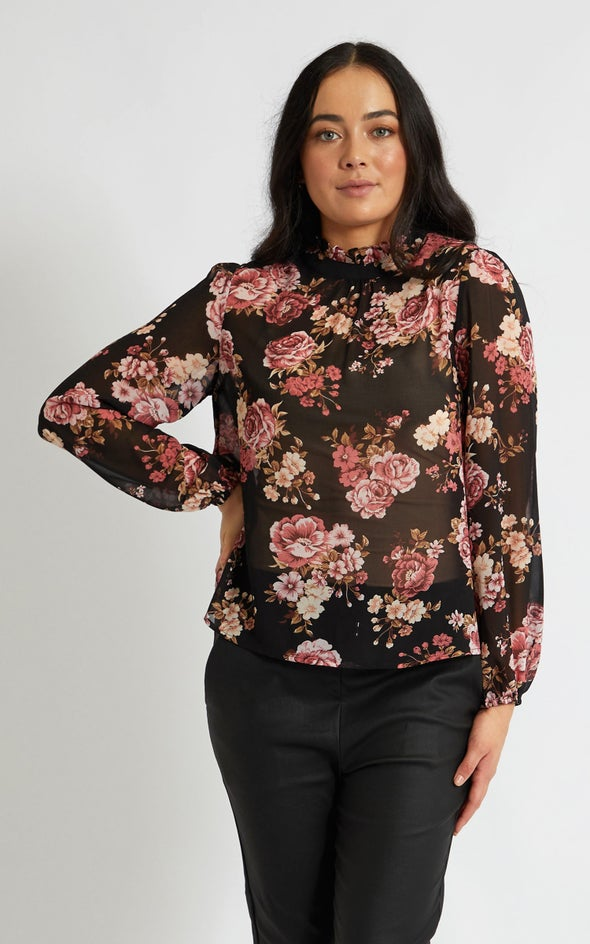 Chiffon High Neck LS Blouse Black/pink
