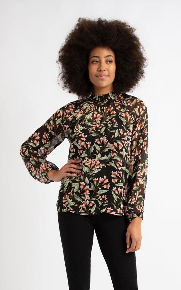 Chiffon High Neck LS Top Black/floral