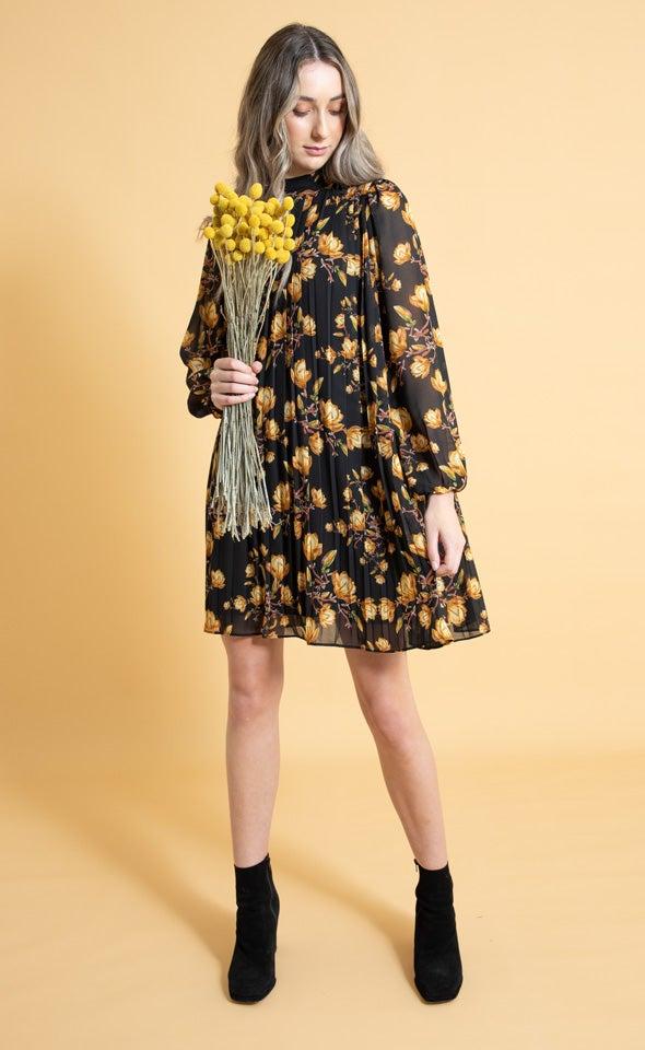 Chiffon High Neck Pleat LS Dress
