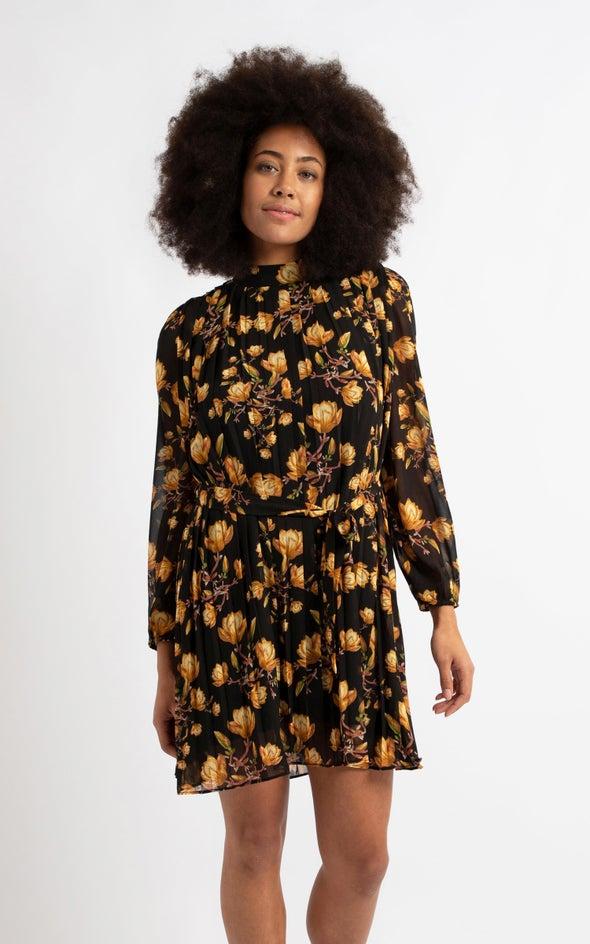 Chiffon High Neck Pleat LS Dress Black/ochre