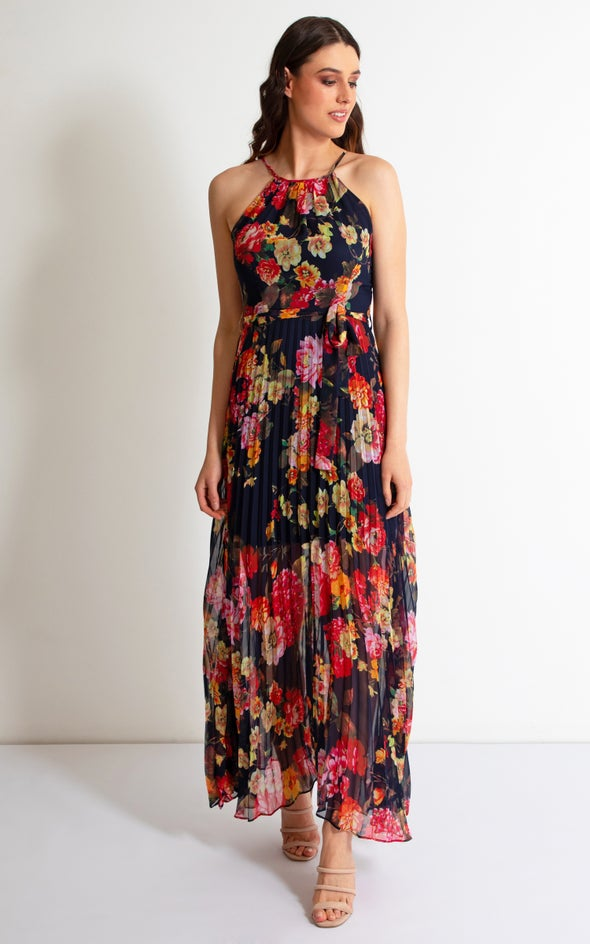 Chiffon High Neck Pleated Maxi Navy/floral