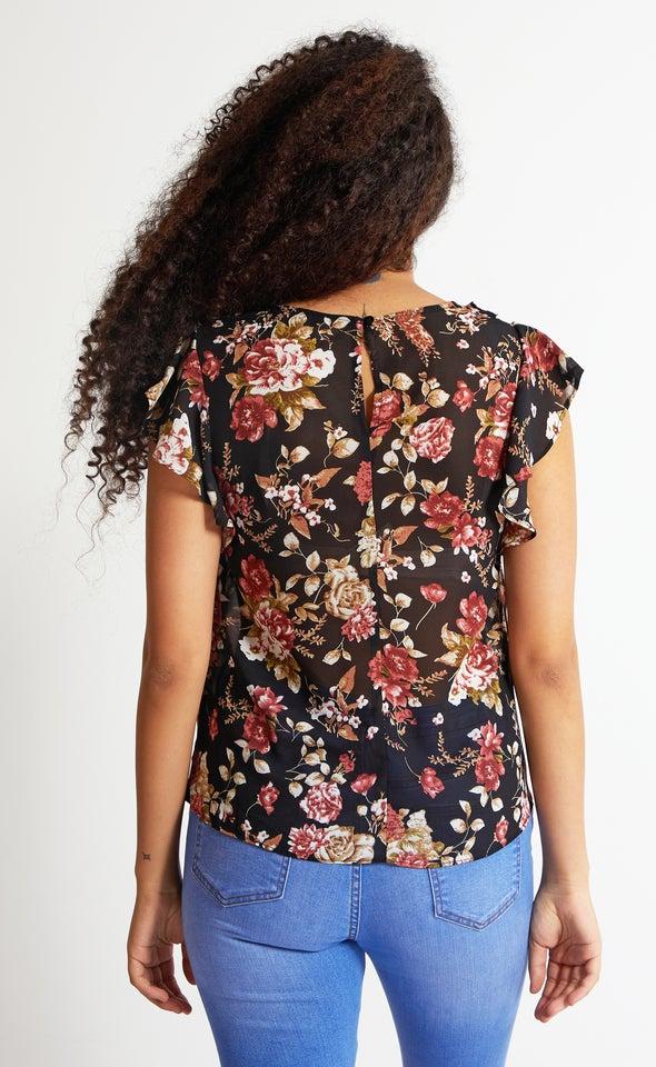Chiffon Keyhole Flutter Top Black/floral
