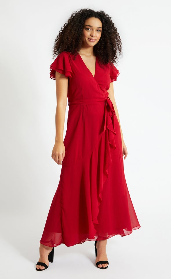 Chiffon Layered Flutter Wrap Gown Maroon