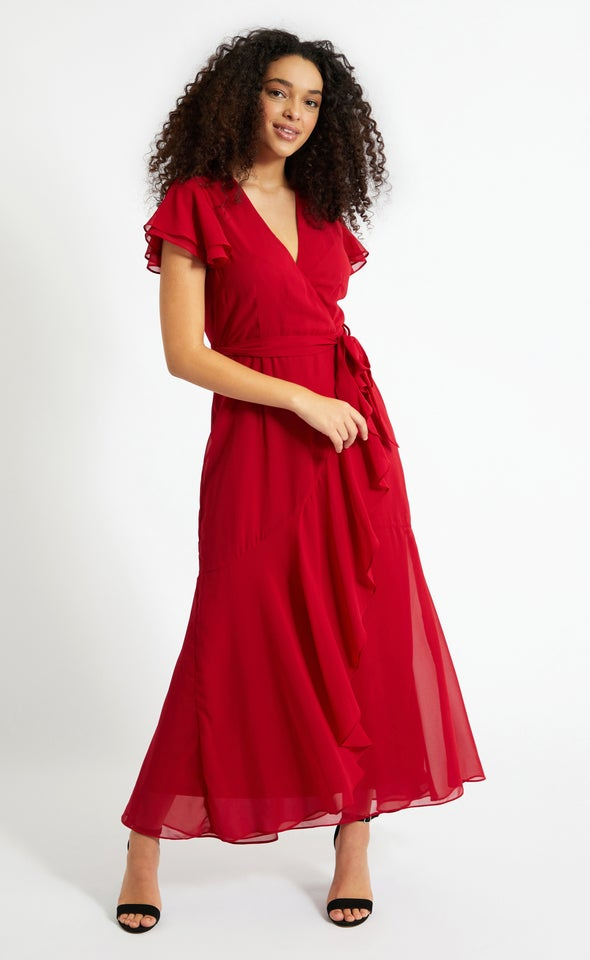 Chiffon Layered Flutter Wrap Gown