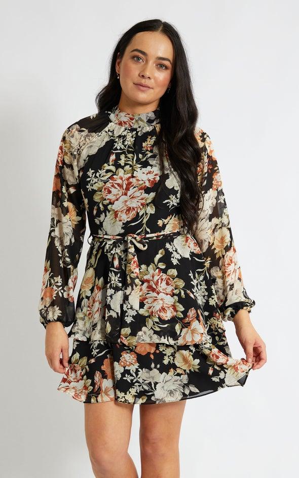 Chiffon Layered Skirt LS Dress Black/floral