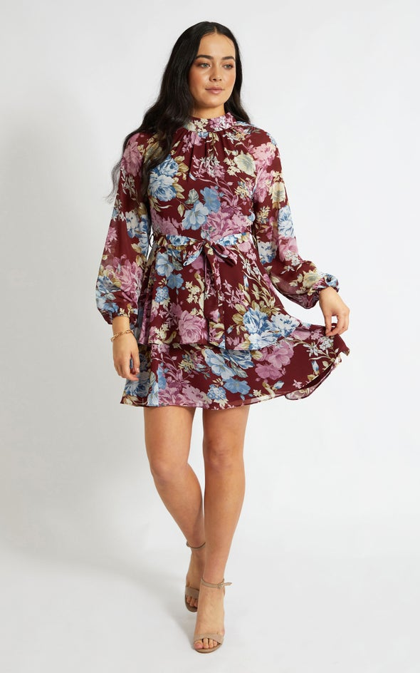 Chiffon Layered Skirt LS Dress Maroon/floral