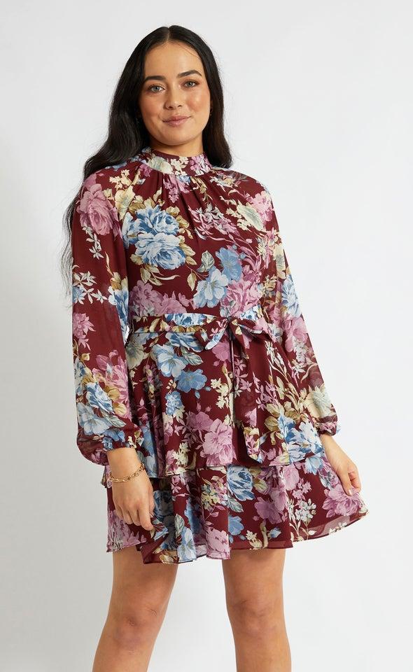 Chiffon Layered Skirt LS Dress