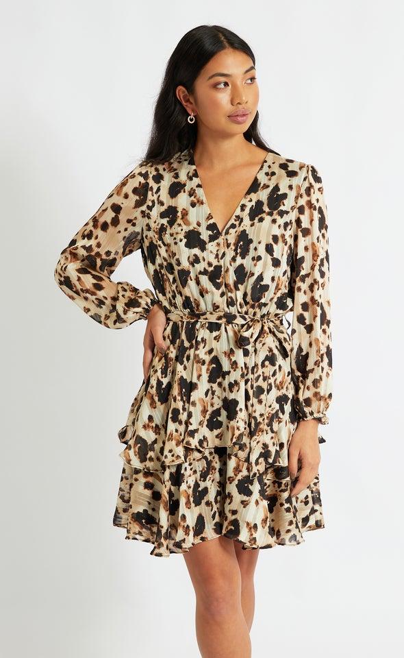 Chiffon Leopard Print Wrap Dress Leopard Print