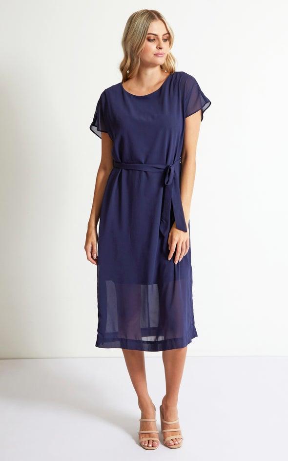 Chiffon Loose Fit Midi Dress Navy