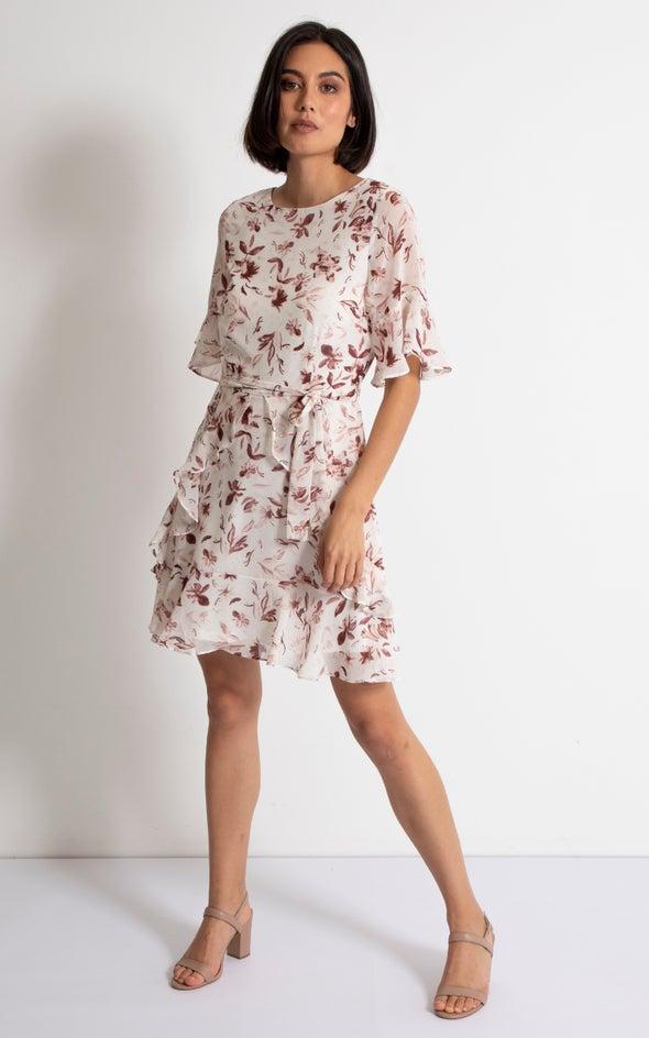 Chiffon Multi Frill Skater Dress Cream/maroon