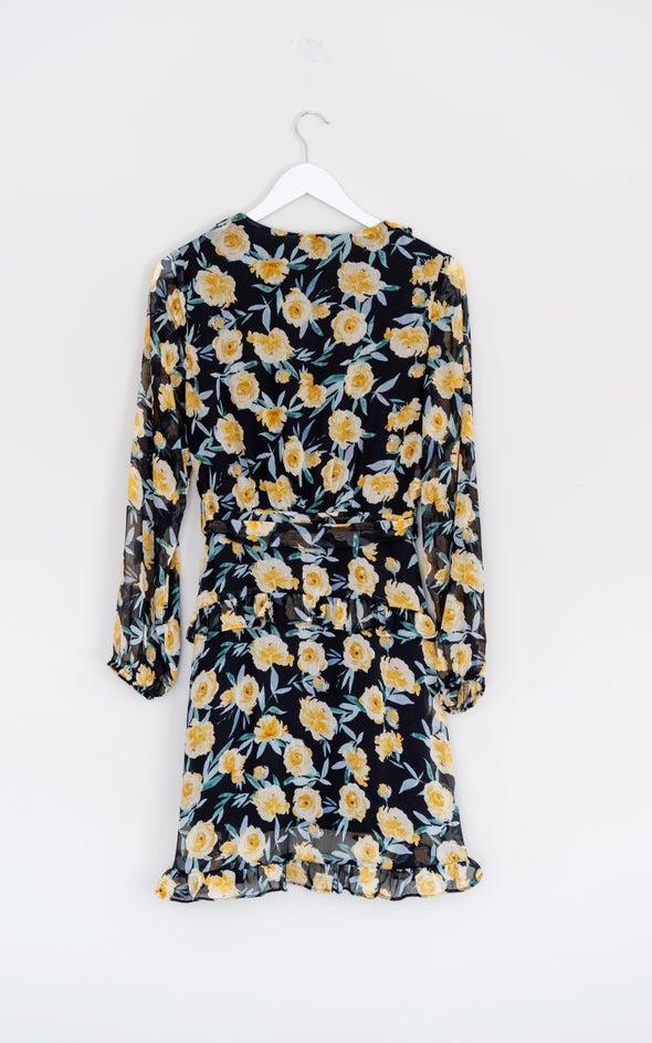Chiffon Multi Ruffle Wrap Dress Black/floral