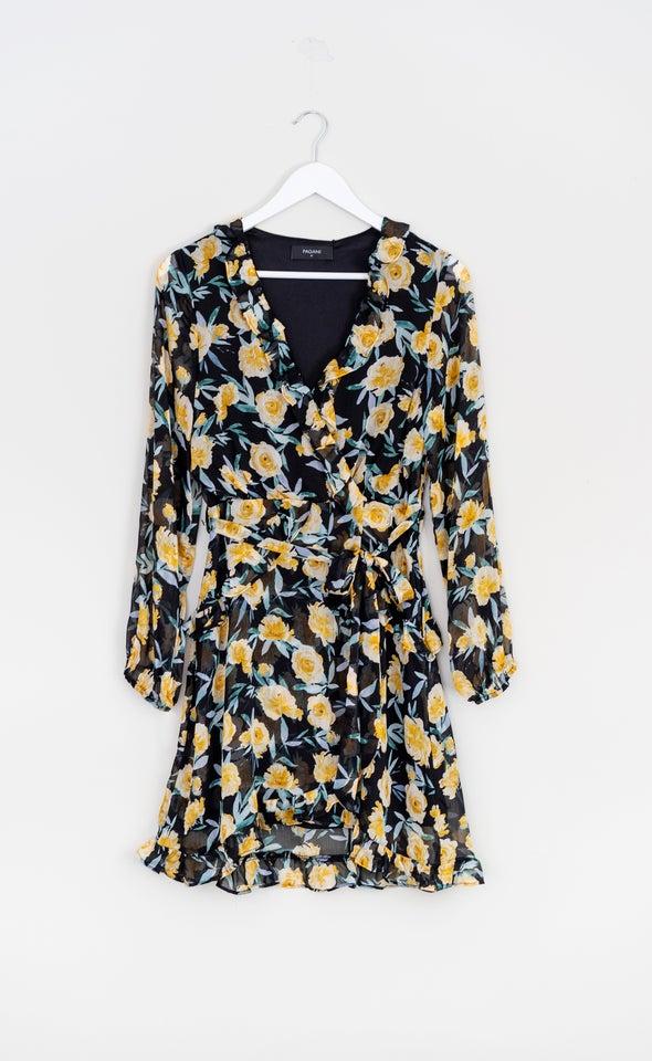 Chiffon Multi Ruffle Wrap Dress
