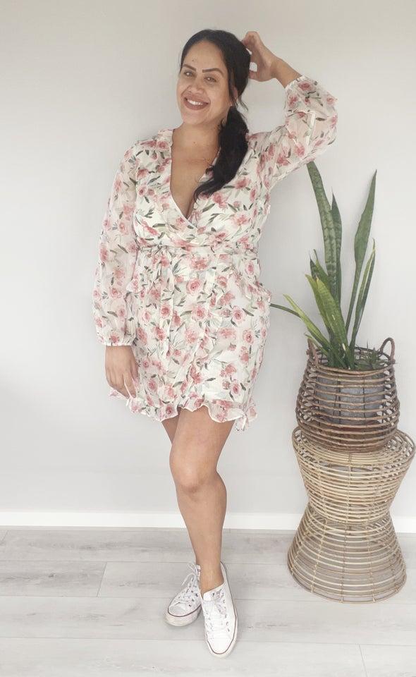 Chiffon Multi Ruffle Wrap Dress Cream/floral