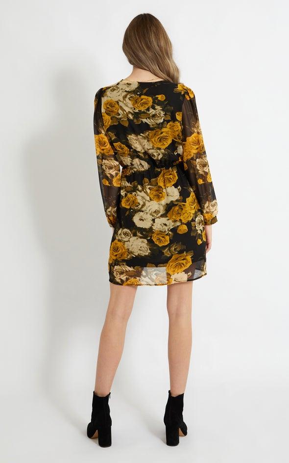 Chiffon Neck Band Wrap Dress Black/mustard