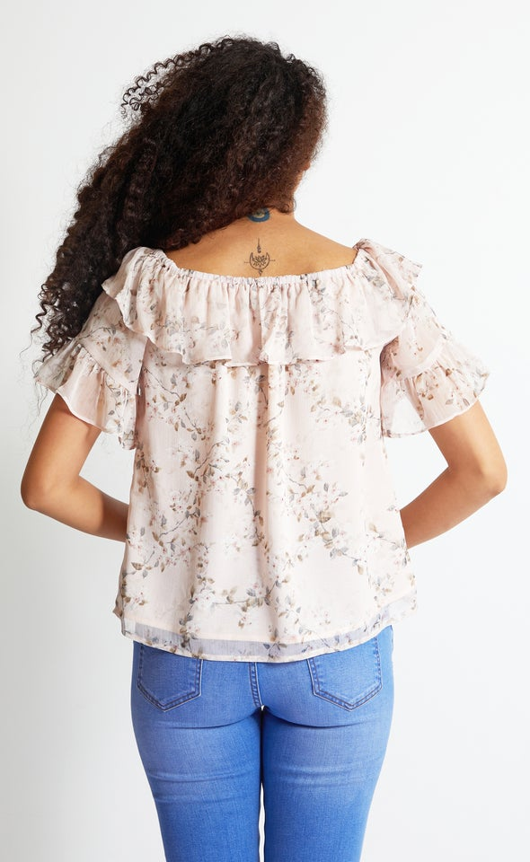 Chiffon Off The Shoulder Top Blush/floral