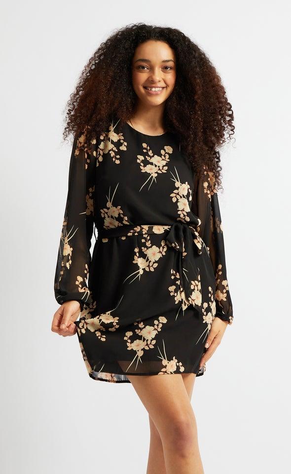 Chiffon Oriental Print Shift Dress Black/beige