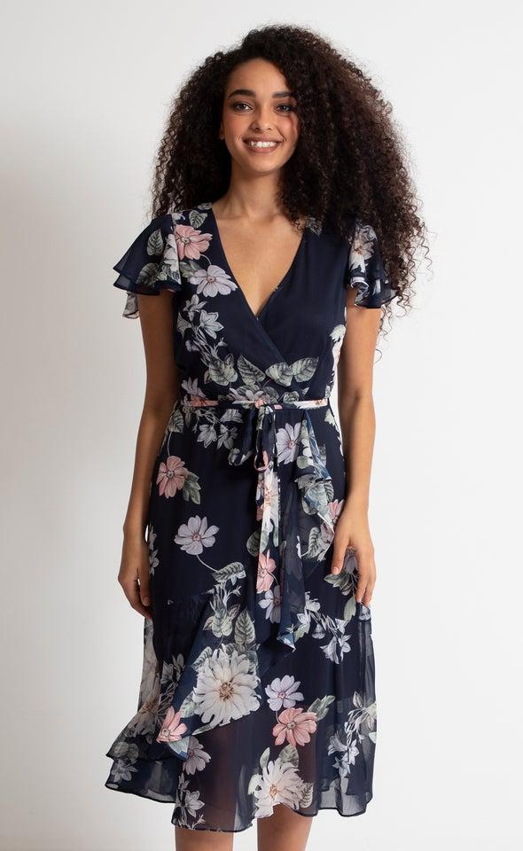 Chiffon Overlay Detail Wrap Dress Navy/floral