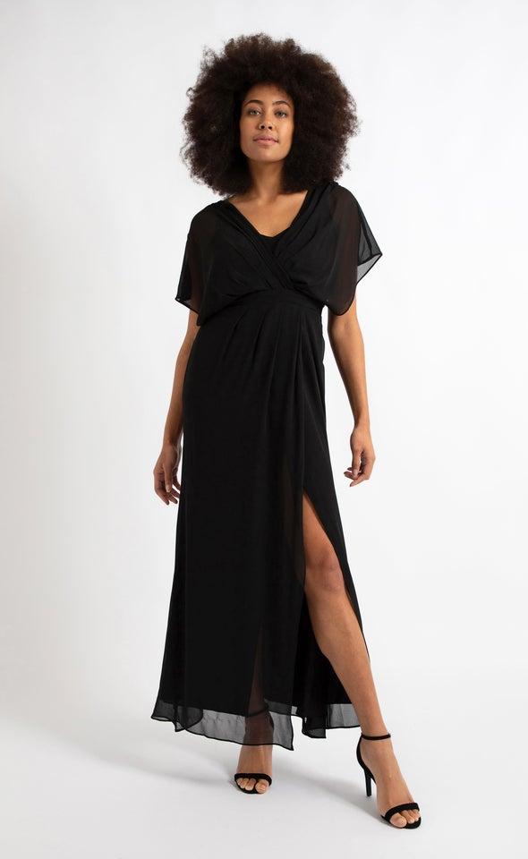 Chiffon Overlay Detail Wrap Gown Black