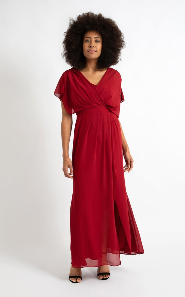 Chiffon Overlay Detail Wrap Gown Maroon