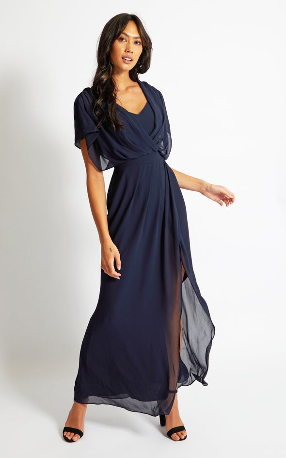 Chiffon Overlay Detail Wrap Gown Navy