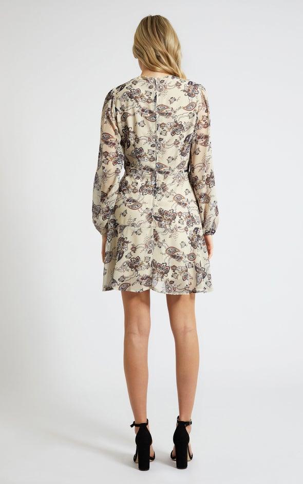 Chiffon Paisley LS Wrap Dress Beige/paisley