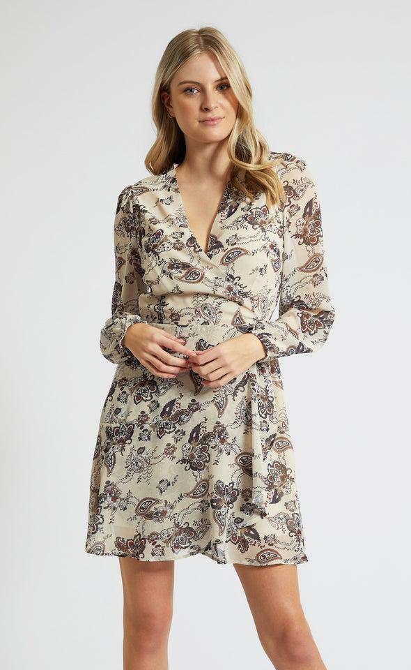 Chiffon Paisley LS Wrap Dress