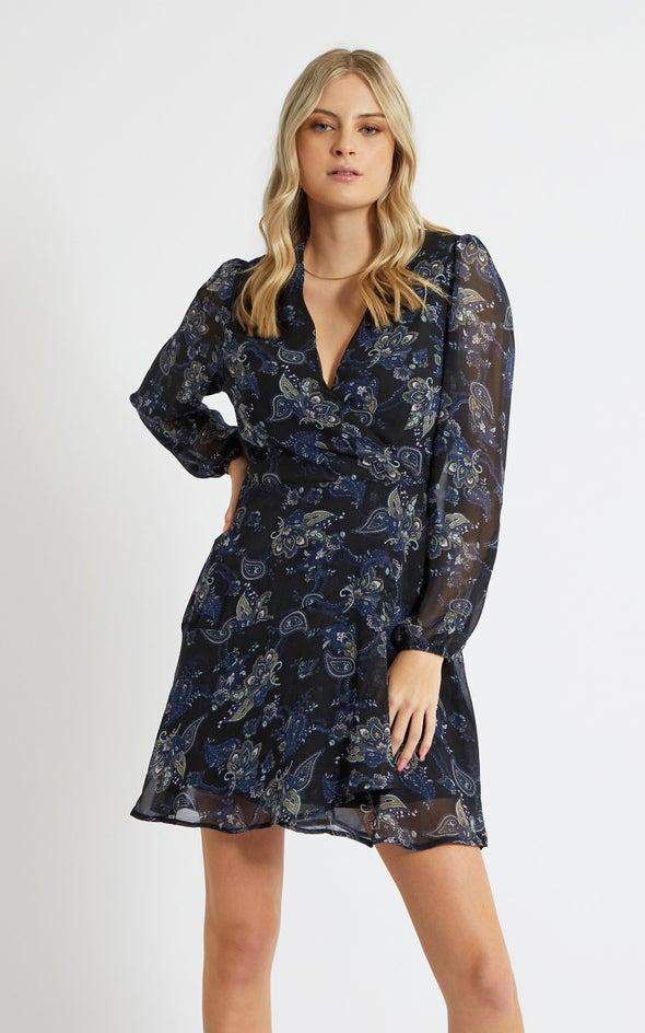 Chiffon Paisley LS Wrap Dress Ink/paisley