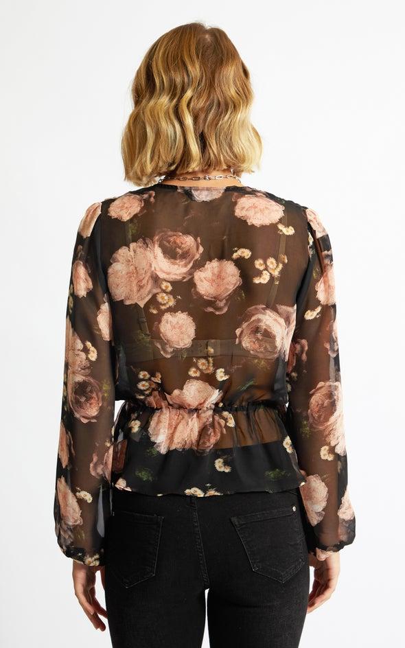 Chiffon Peplum Detail LS Top Black/floral