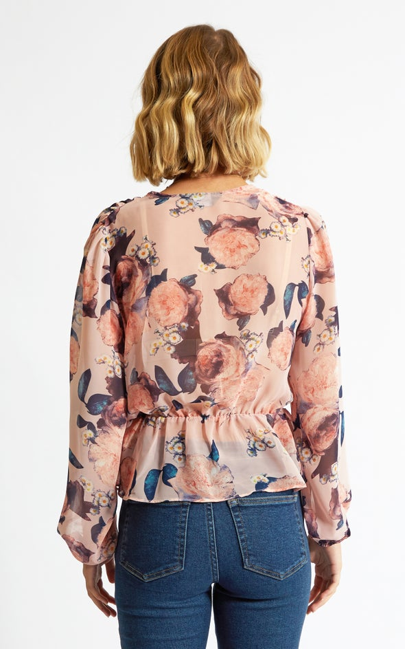 Chiffon Peplum Detail LS Top Blush/floral