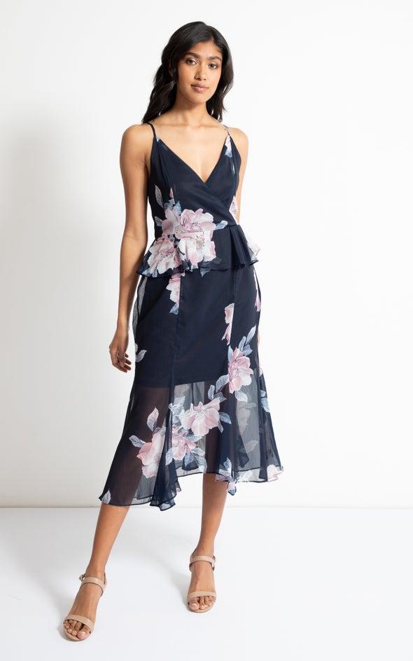 Chiffon Peplum Waist Dress Navy/floral