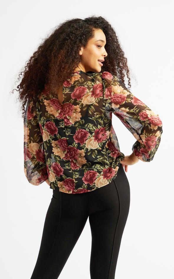 Chiffon Pintuck Detail LS Top Black/floral