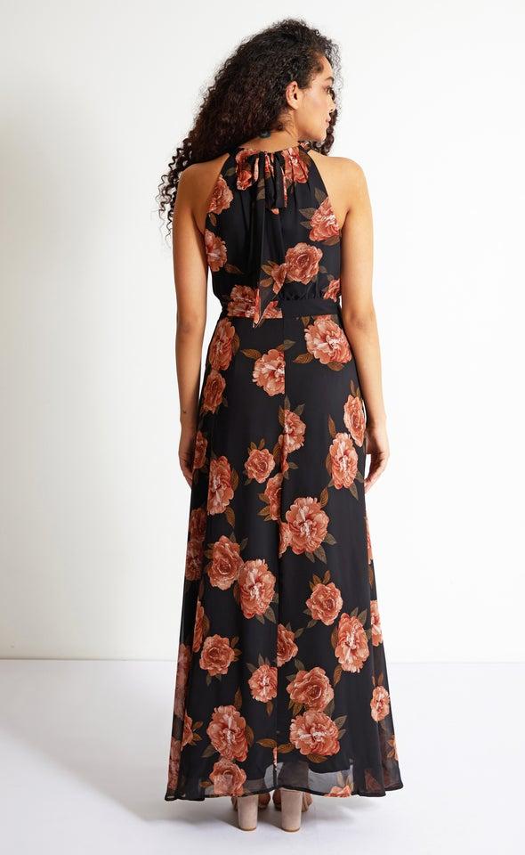 Chiffon Pleat Bodice Detail Maxi Black/floral