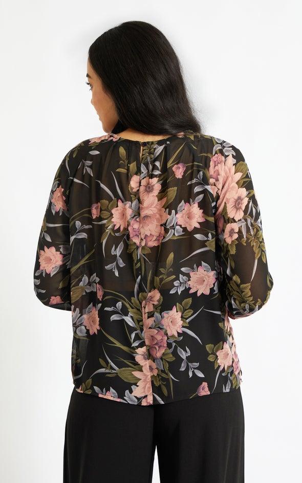 Chiffon Pleat Detail LS Top Black/floral