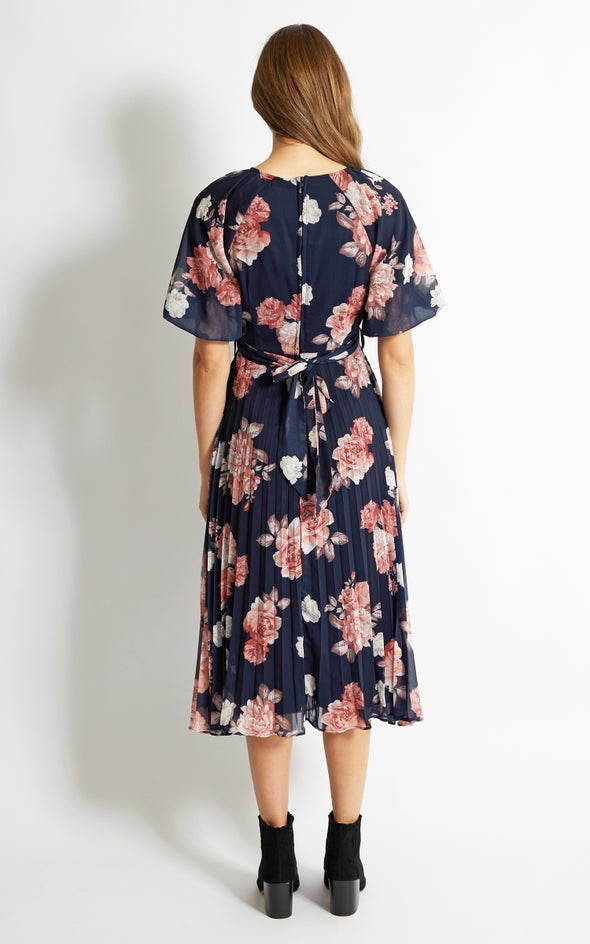 Chiffon Pleated 2 in 1 Dress Navy/floral